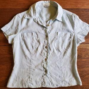 Vintage Linen Short Sleeve Button Up Shirt